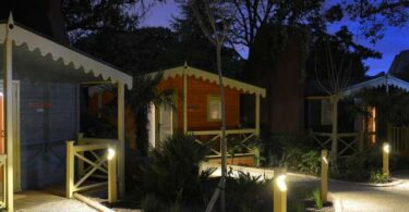 Gir Lion Lodges at night cZSL